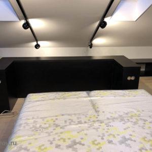 отделка спальни на мансарде. Утепление кровли и создание, отделка потолка, установка корпусной мебели и эектрика с осветительными приборами