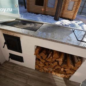 дровяная кухонная печь для котла и электрическая поверхность с жаропрочным стеклом