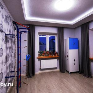 потолок в детской в 2 уровня с освещением
