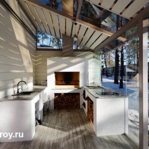 летняя кухня в пристроенной веранде