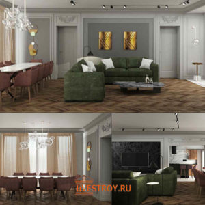 гостиная и столовая зоны, 3d модель